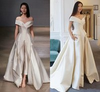 2021Women Jumpsuit With Long Train White Evening Dresses Off Shoulder Sweep Elegant Prom Dress Party Festa