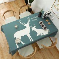 테이블 천 가정용 두꺼운 면화와 린넨 북유럽 스타일 인쇄 패턴 식탁보 나노 코팅 방수 커피
