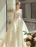 Повседневные платья Vestido de Noiva 2021 Anderotek Роскошные Shinny Real PO Свадебные платья с длинным рукавом Кружевые аппликации Принцесса Bridal Pressing