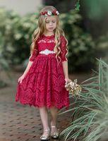 2021 Bohemian Flower Girls Dresses Half Sleeves Beaded Sash Burgundy Navy-Blue Lace Rustic First Communion Gowns for Little Kids Infant Toddler Birthday Knee-Length