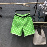 Women's Jeans Fluorescent Green Wave Dotted Five-point Women 2021 Summer Fashion Pocket Tassel Straight Jean Wide Leg Short