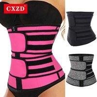 CXZD Mulheres Sauna Sauna Treinador Treinador Corset Zipper Cinturão para Mulheres Perda de Peso Compressão Trimmer Workout Fitness Shapewear 210708