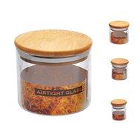 Cam Depolama Kavanozları Mühürlü Bambu Kapakları ile Clear Toplu Teneke Kutu Saksı Kahve Spicecandy C Şişeleri