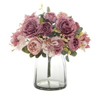 Decorative Flowers & Wreaths Artificial White Silk Roses Vintage Bride Holding Bouquet Vases For Home Decor Christmas Wedding Fake Plants