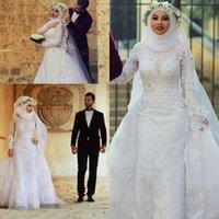 2019 Muslim Long Sleeves Lace Sheath Wedding Dresses Arabic Islamic Hijab Wedding Gowns High Neck Applique Bridal Gowns With Long Train
