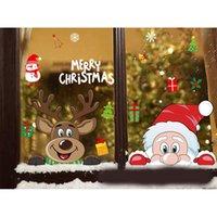 عيد الميلاد نافذة الشارات سانتا كلوز ندفة الثلج ملصقات الشتاء الاطفال غرفة جدار الشارات السنة الجديدة عيد الميلاد نافذة ديكورات