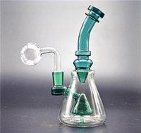 Glass Beaker Bong Dab Rig UFO Perc Percolator 8inch Tall Water bubbler Bongs with 14mm glass oil burner pipe and banger nail