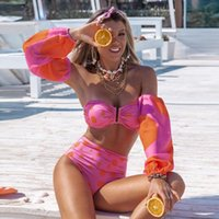 Two-piece Suits 2021 Sexy High Waist Bikini Set Pink Dot Swimwear Women With Sleeve Bather Suit Beachwear Printed Biquini Female