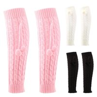 Socks & Hosiery Style Women Cable Knit With Plush Ball Crochet Boot Cuffs Knee High