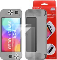 Dockable Case for New Nintendo Switch OLED Model with 2 Pieces Screen Protector Film TPU Shock Absorption Anti-Scratch Protective Cover Game Accessories-Grey