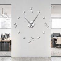 Wall Clocks Football Player Goalkeeper DIY Art Stickers Frameless Clock Silent Non Ticking Watch Sports Room Decor Soocer Fan Gift