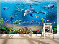 Wallpapers 3d Wallpaper Custom Mural Wall Cloth Sea World Brick Dolphin Background For Walls 3 D Po