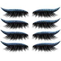 False Eyelashes 8pcs=4Pairs Reusable Lashes Eyeliner And Eyelash Stickers Waterproof Easy To Use Remove