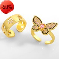 Kelebek Yüzük Kişilik Net Kırmızı Dizin Parmak Yüzük Kore Açık Mikro Set Zirkon Kadın RIK12