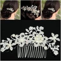 Clips de pelo Barrettes Le Liin Flower Flower Peine Adornos de novia Ornamentos de Rhinestone Decoración de boda para mujer
