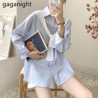 Gaganight мода полосатая блузка с длинным рукавом повседневная свободная отделение леди весна осенние рубашки с шалью корейский капля женские блузки