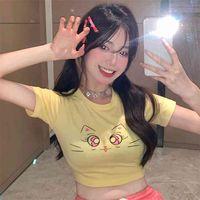 Divertidos ojos grandes 3D camiseta impresa 3D Anime Dibujos animados de dibujos animados Linda expresión StraitJacket Tops Slim Young Ladies Tee 210529