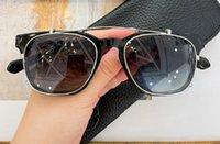 선글라스에 라운드 클립 실버 검은 회색 음영 처리 된 남자 패션 태양 안경 상자