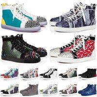2021 Varış Kırmızı Dipleri Erkekler Kadınlar Düz Rahat Ayakkabılar Tasarımcı Platformu Lüks Sneakers Junior Spikes Süet Deri Erkek Bayan Alt 35-47