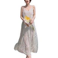 Il temperamento del vestito da fionda del pois era il sottile gonna della spiaggia del chiffon sottile elegante Abbigliamento femminile Estate femminile Abbigliamento da donna 210520
