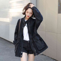 Women's Jackets Women Cropped Denim Jacket Stitching Snake Pattern Pockets Tops New Spring Autumn Jeans Coat Loose Oversized Femal