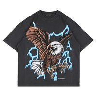 USA Europe Fashion Eagle Thunder Lightning T-shirt T-shirt Smoke Skateboard Hommes Femmes High Streetwear Cool Tshirt