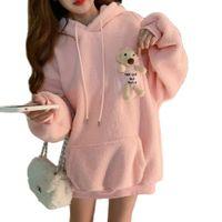 Women's Jackets Urso, blusa de retalhos com capuz, moletom feminino, rosa, bonito, outono, moda coreana, fleece, quente, bolso, roupas longas tamanho A3F5