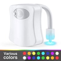 DHL 화장실 야간 조명 LED 스마트 램프 욕실 인간의 모션 야간 조명 활성화 된 PIR 8 색 자동 RGB 백라이트