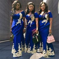 Royal Blue Mermaid Bridesmaid Dresses Off Shoulder Short Sleeve Draped Appliques Wedding Guest Gowns Maid of Honor Dress