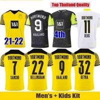 Dortmund futebol jersey borussia 21 22 quarto 4º 4º 2021 2022 camisa de futebol haaland reus neongelb bellingham sancho hummels brandt homens + kit kit maillot de pé