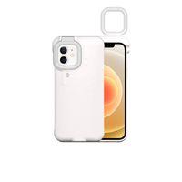 원래 iPhone 12 11 Pro Max LED 셀프 링 플래시 라이트 휴대용 플래시 카메라 전화 케이스 커버 손전등 X XS XR 7 8 Plus