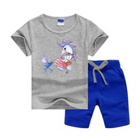 Luxury Designer Baby Summer Clothes Set Printing Cartoon Mother Seahorse Kids Boy Girl Short Sleeve Tee and Pants 2Pcs Sport Suit Fashion Tracksuits Summers Outfits
