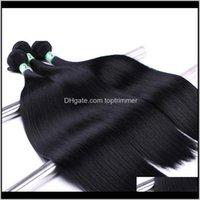 Senhoras sedosos em linha reta 12 tamanhos Atacado pretas Extensões Weave WeFts Bulk Cabeça Africano Sintético Sintético Trama 6PLSO 9VEXH