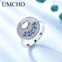 Cluster Rings UMCHO Fashion Round Blue Ring Real 925 Sterling Silver Jewelry Gemstone For Women Party Gift Fine