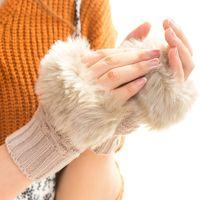 Зимние длинные перчатки без пальцев вязание жаккардовые длины локтя длиной большой палец отверстие для женщин девушек