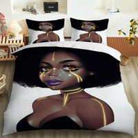 Bedding Sets African Girl king Full size Set machine washable Duvet Cover Polyester Comforter Gift For Women Girls duvet cover and two sets no.1