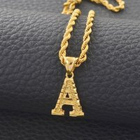 Colar Anniyo A-Z Letras Colares Mulheres Homens Gold Color Inicial Pingente Corrida Corrente Inglesa Carta Jóias Alfabeto Africano # 058002b