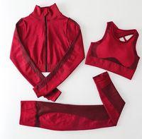 Tracksuit Tech Wear Active jacket Tracksuits Womens Yoga Suit Leggings outfits align pant yogaworld Gym Sportswear t shirt Designer Fitness Sport set 3PCS bra coat