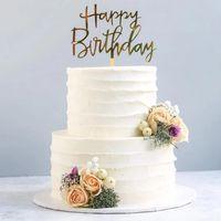 Золотое серебро с днем рождения торт топперы акриловые классические день рождения кекс топпер десерт украшение для детского душа торт