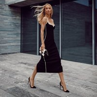 Casual Dresses Wholesale Women's Clothing Black Spaghetti Strap Fashion Sexy Celebrity Cocktail Party Bandage Long Dress Z6Y7
