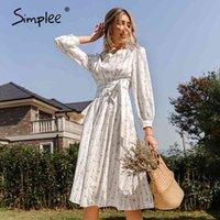 Vestidos simple manga longa flor impresso mulheres com cinto elegante cintura alta primavera vestidos feminino floral maxi es