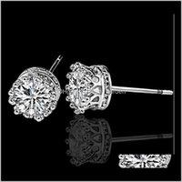 쥬얼리 드롭 배달 2021 패션 웨딩 크라운 크리스탈 귀걸이 Sier 도금 된 합금 CZ 다이아몬드 약혼 귀걸이 스터드 여성용 파티