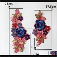 Notions Tools Ferramentas Vestuário Entrega 2021 Um par de venda Bordado Tecido de renda 3D Aplicação de flor de cintas colarinho DIY costurando enfeites artesanato