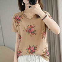 Knits Summer Women Sweater Chin Printing V-neck Short 100% Cotton Knitted Tops Female Pullover Cool T-shirt Clothes Pull Femme Jumpers