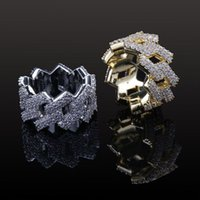 Gold Star Hip Hop Jewelry Mens Ring Ice Out Cubic Zircon Personality Silver For Women
