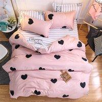 Conjuntos de cama de amor rosa de dibujos animados 4 unids suave transpirable lindo para niños cama cubierta de edredón conjuntos de impresión de corazón edredones de colcha con funda de almohada para adultos para niñas