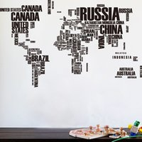 Creative Letter Printed World Map Wall Stickers Bedroom Kid's Room Study Dormitory Office WallPaper Decorations