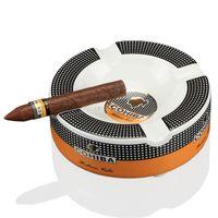 COHIBA Portable Cigar Ashtray Home Ceramic Ashtray Luxury Tobacco 4 Rest Holder Cigar Ash Tray 210724