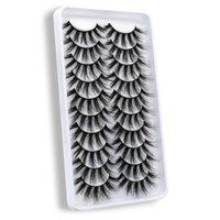 False Eyelashes Lashes 5 10 Pairs 3D Mink Fluffy Soft Wispy Volume Natural Long Cross Eye Reusable Eyelashs Makeup