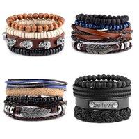 Vintage Wooden Beads Retro Multilayer Leather Bracelet Male Fashion Bangles Braided Handmade Rope Wrap Bracelets For Men Charm